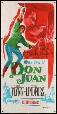 5p001 ADVENTURES OF DON JUAN Indian 3sh R1950s Errol Flynn made history when he made love to Lindfors!
