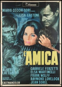 5p165 L'AMICA Italian 2p R1970s art of sexy Lisa Gastoni surrounded by male suitors, rare!