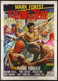 5p167 LION OF THEBES Italian 2p 1965 Ciriello art of Mark Forest & Yvonne Furneaux as Helen of Troy