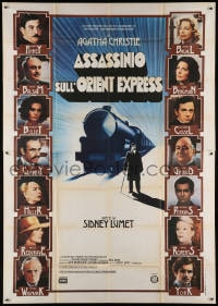 5p173 MURDER ON THE ORIENT EXPRESS Italian 2p 1974 great different art of train & top cast!
