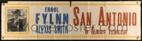5p018 SAN ANTONIO paper banner 1945 great portrait of Errol Flynn, whose name is misspelled!