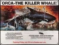 5p054 ORCA subway poster 1977 wild artwork of attacking Killer Whale by John Berkey!
