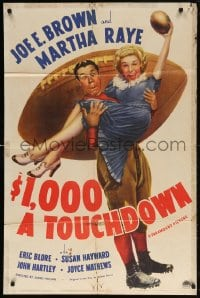 5r005 $1,000 A TOUCHDOWN 1sh 1939 art of Joe E. Brown & Martha Raye by giant football!