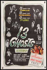5r001 13 GHOSTS 1sh 1960 William Castle, great art of the spooks, horror in ILLUSION-O!