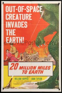 5r009 20 MILLION MILES TO EARTH 1sh 1957 out-of-space creature invades the Earth, cool art!