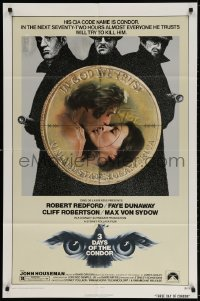 5r002 3 DAYS OF THE CONDOR 1sh 1975 CIA analyst Robert Redford & Faye Dunaway!