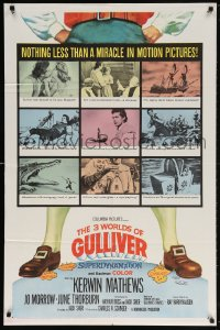 5r004 3 WORLDS OF GULLIVER 1sh 1960 Ray Harryhausen fantasy classic, art of giant Kerwin Mathews!