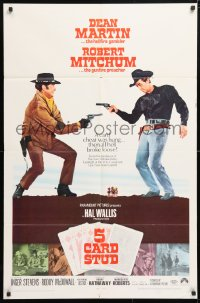 5r013 5 CARD STUD 1sh 1968 Dean Martin & Robert Mitchum play poker & point guns at each other!