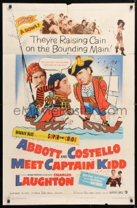 5r016 ABBOTT & COSTELLO MEET CAPTAIN KIDD 1sh 1953 art of pirates Bud & Lou with Charles Laughton!