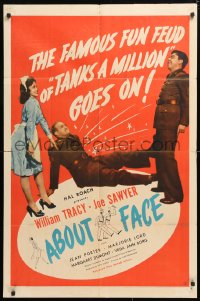 5r017 ABOUT FACE 1sh 1942 Joe Sawyer, William Tracy, Jean Porter, Margaret Dumont, Hal Roach!