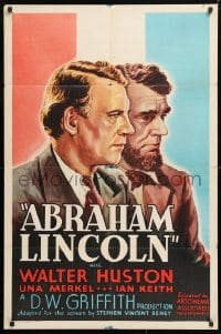 5r018 ABRAHAM LINCOLN 1sh R1937 Walter Huston in the title role, D.W. Griffith directed!
