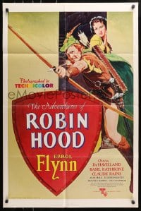 5r020 ADVENTURES OF ROBIN HOOD 1sh R1976 Flynn as Robin Hood, De Havilland, different art!