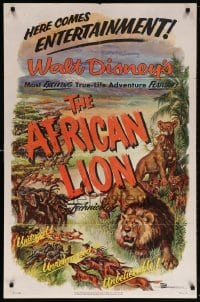 5r021 AFRICAN LION 1sh 1955 Walt Disney jungle safari documentary, cool animal artwork!