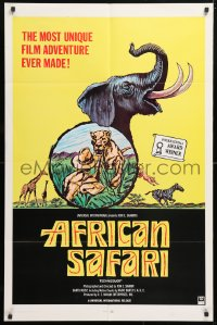 5r022 AFRICAN SAFARI 1sh 1969 jungle documentary, cool art of wild animals!