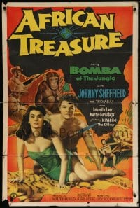 5r023 AFRICAN TREASURE 1sh 1952 Johnny Sheffield as Bomba of the Jungle!