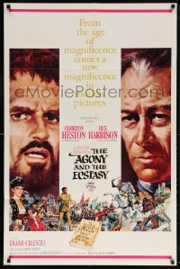 5r024 AGONY & THE ECSTASY roadshow 1sh 1965 Terpning art of Charlton Heston & Rex Harrison!