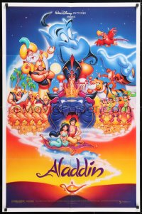 5r025 ALADDIN DS 1sh 1992 Walt Disney Arabian fantasy cartoon, Calvin Patton art of cast!