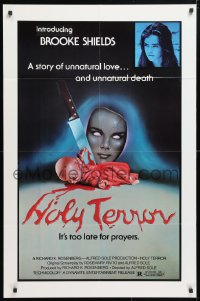 5r028 ALICE SWEET ALICE 1sh R1981 first Brooke Shields, disturbing knife-in-doll photo, Holy Terror!