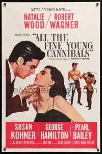 5r030 ALL THE FINE YOUNG CANNIBALS 1sh 1960 art of Robert Wagner about to kiss sexy Natalie Wood!