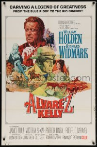 5r032 ALVAREZ KELLY 1sh 1966 William Holden & Colonel Richard Widmark, artwork by Robert Abbett!