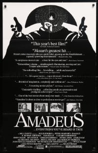 5r033 AMADEUS reviews 25x40 1sh 1984 Milos Foreman, Mozart biography, winner of 8 Academy Awards!
