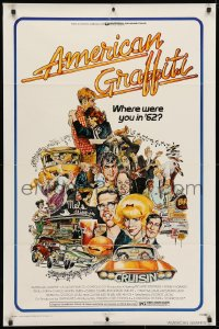 5r035 AMERICAN GRAFFITI 1sh 1973 George Lucas teen classic, Mort Drucker montage art of cast!
