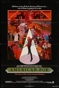 5r037 AMERICAN POP 1sh 1981 cool rock & roll art by Wilson McClean & Ralph Bakshi!