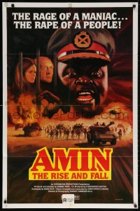 5r039 AMIN THE RISE & FALL 1sh 1982 Joseph Olita as maniac dictator Idi Amin, great art!