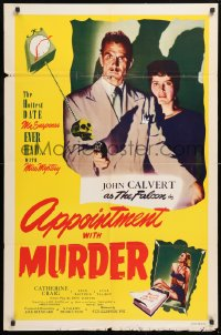 5r053 APPOINTMENT WITH MURDER 1sh 1948 Calvert as The Falcon makes a date w/the thrill of his life!