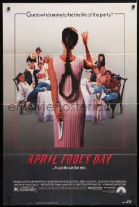 5r054 APRIL FOOL'S DAY 1sh 1986 wacky horror, great image of girl with knife & noose hair!