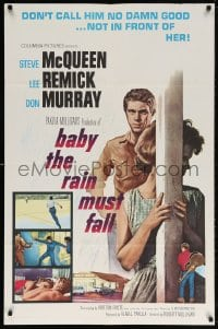 5r063 BABY THE RAIN MUST FALL 1sh 1965 bad boy Steve McQueen is no damn good for Lee Remick!