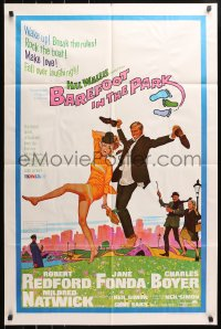 5r070 BAREFOOT IN THE PARK 1sh 1967 McGinnis art of Robert Redford & Jane Fonda in Central Park!
