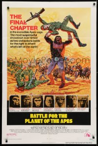 5r075 BATTLE FOR THE PLANET OF THE APES 1sh 1973 great sci-fi artwork of war between apes & humans!