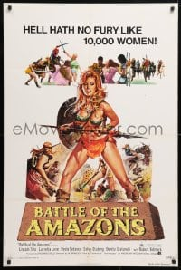 5r076 BATTLE OF THE AMAZONS 1sh 1973 art of sexy barely-dressed female warrior Lucretia Love!