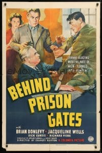 5r079 BEHIND PRISON GATES 1sh 1939 Brian Donlevy, Jacqueline Wells, cool art from crime thriller!