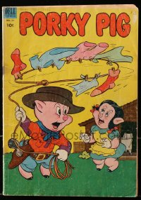 5s046 PORKY PIG #27 comic book 1953 great cover image as a cowboy with lasso impressing Petunia!