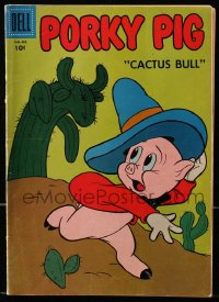 5s049 PORKY PIG #56 comic book 1956 great cover image of him running from monstrous cactus!