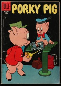 5s050 PORKY PIG #60 comic book 1958 great cover image of him oiling kid's roller skates!