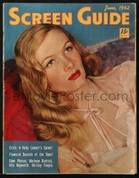 5s539 SCREEN GUIDE magazine June 1942 Veronica Lake + Dietrich, Hayworth & Temple color photos!