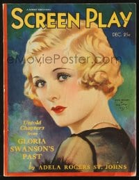 5s541 SCREEN PLAY magazine December 1931 cover art of beautiful Joan Bennett by Henry Clive!