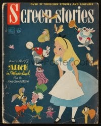 5s542 SCREEN STORIES magazine August 1951 Disney's Alice in Wonderland from Lewis Carroll classic!