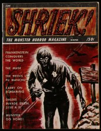 5s550 SHRIEK magazine Winter 1967 cool zombie art, Frankenstein Conquers the World & more!