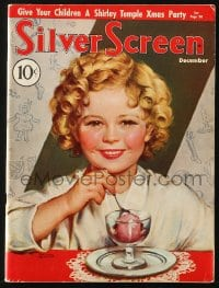 5s553 SILVER SCREEN magazine December 1935 great cover art of Shirley Temple by Marland Stone!