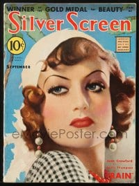 5s552 SILVER SCREEN magazine September 1932 cover art of Joan Crawford by John Ralston Clarke!