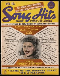 5s558 SONG HITS magazine April 1945 sexy Rita Hayworth on the cover, contains more than 100 songs!