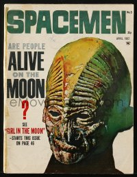 5s563 SPACEMEN #3 magazine April 1962 cool Basil Gogos cover art, are people alive on the moon!