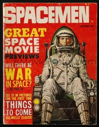 5s561 SPACEMEN vol 1 no 2 magazine Sept 1961 Bruce Minney cover art, H.G. Wells' Things To Come!