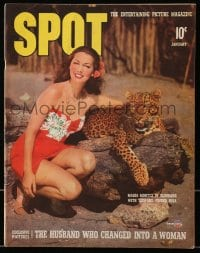 5s572 SPOT magazine January 1942 Maria Montez with leopard, the husband who changed into a woman!
