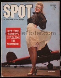 5s574 SPOT magazine September 1942 sexy Dolores Moran with skirt blowing by airplane!