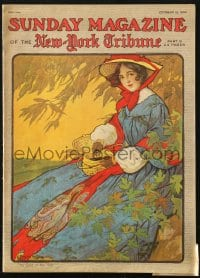 5s584 SUNDAY MAGAZINE magazine October 15, 1905 G. Patrick Nelson cover art of woman in autumn!